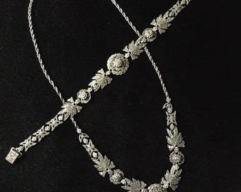 MARCASITE and STERLING SILVER, Bracelet & Necklace Set