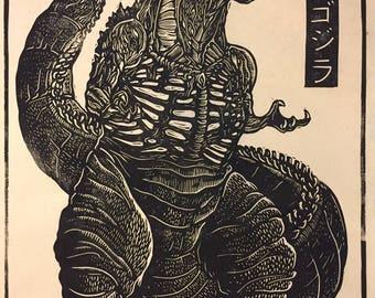 Shin Godzilla Block Print