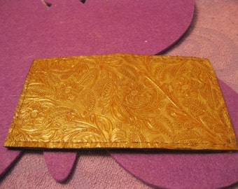 TAN  LEATHER WALLET with Flowers and Leaves