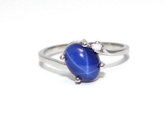 Cornflower Blue Star Sapphire Ring / Solid Gold Star Sapphire Ring / Gold Ring