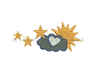 Stars cloudy sunny sun system embroidery machine digital design astral threads
