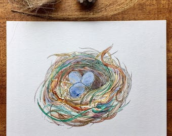 "8x10 Original Art ""The Robins Nest"" Watercolor Ink on linen watercolor paper-Bird Nest-Woodland-Nature Art"