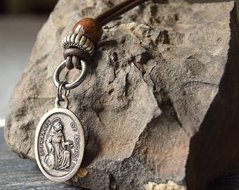 Saint Francis Necklace, Catholic mens leather cord necklace, Mens Religious Jewelry, Catholic mens necklace, Catholic mens jewelry