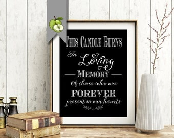 This Candle Burns In Loving Memory, Wedding Sign, Memorial Table, Black & white, Printable, INSTANT DOWNLOAD, wedding Table, whitesuite
