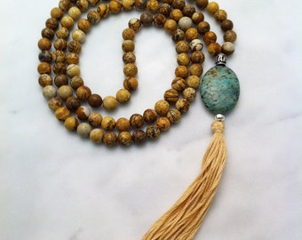 Wholeness Mala Beads  - Picture Jasper Mala Buddhist Prayer Beads, 108 Mala Beads for wholeness, grounding, rooting, goodess energy