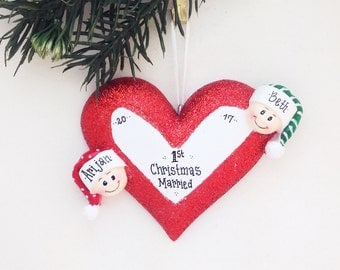 FREE SHIPPING 2 Happy Faces Around a Heart / Engaged Couple Personalized Christmas Ornament / Engagement / Mommy and Me / Valentines