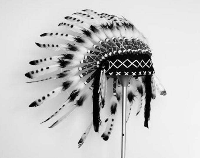 PRICE REDUCED - N09- For 9 to 18 month Toddler / Baby: black and white Headdress for the little ones !,