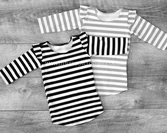 Baby girl shirt, baby girl clothes, ruffle sleeve shirt, flutter sleeve shirt, girls shirts, girls stripe shirt, baby long sleeve