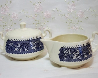 Vintage 1950s, Sugar Bowl and Cream Pitcher, Shakespeare Country Blue (Leaves), Stratwood Collection, by Homer Laughlin