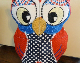 Red, White and Blue Patriotic Scrappy Owl Doorstop