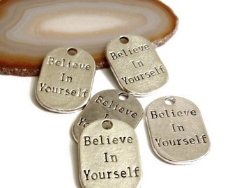 5 Pcs Believe In Yourself Charms - 12 Step Recovery Narcotics Alcoholics Anonymous