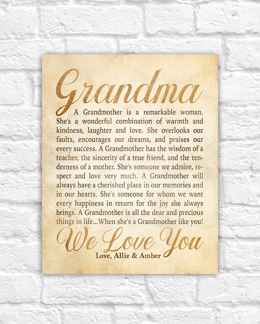 Gift idea for grandmother poem for grandmar personalized for Letter to grandma from grandson
