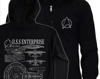 STAR TREK - Next Generation Hoodie - S - 3XL - picards enterprise NCC-1701D blueprints, schematics hoody