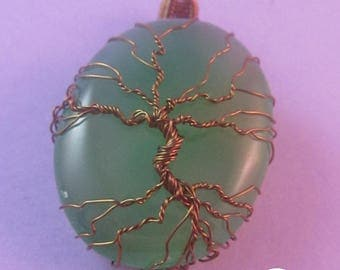 Green Onyx Tree of Life Pendant, Green Tree Pendant, Wire Tree Pendant, UK