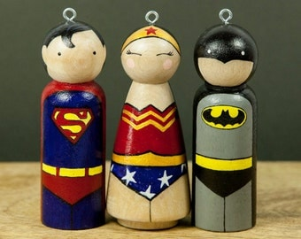 Super Hero Ornaments - Christmas Ornaments - Peg Dolls - Peg Ornaments - Super Hero - Batman - Wonder woman - Superman - Christmas