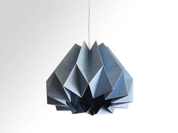 citrouille origami papier abat jour bleu ardoise. Black Bedroom Furniture Sets. Home Design Ideas