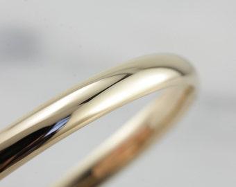 Plain Yellow Gold Hinged Bangle Bracelet, Perfectly Smooth Polish WHFMTJ-P