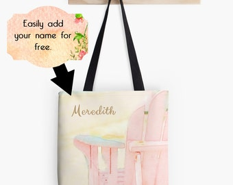 Beach Tote Bag, Customized Beach Bag, Beach Market Bag, Pink Blush Personalized Tote Bag, Custom Market Tote Bag, Artsy Tote, Gift for Her