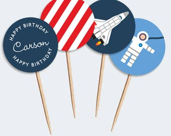 Astronaut/Space Shuttle Cupcake Toppers (DIY Printables)