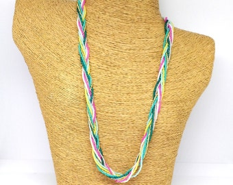 Braided necklace,seed bead necklace,seed bead jewelry,wedding jewelry,multicolor beaded necklace,bridesmaid necklace,unique necklace,rainbow