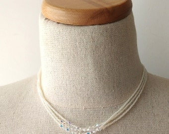 Pearl necklace,crystal swarovski and seed bead, white necklace,chic, multistrand,choker and long necklace,bridesmaid gift,bride necklace