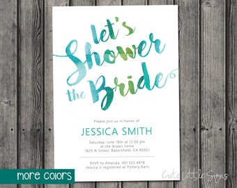 Teal Bridal Shower Watercolor Invitation Digital Download
