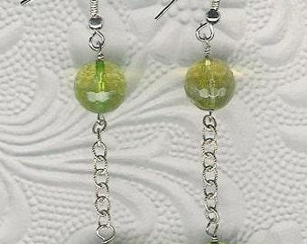 Earrings - Green Quartz, Sterling Silver Long Dangle Statement