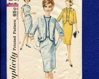 1960's Simplicity 4774 Classic Lady's Luncheon Dress & Jacket Size 18.5