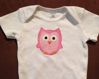 Pink Owl Baby Onesie