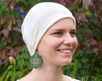 Cream, Black or Navy FULL HEADCOVER SNOOD - no knots -no seams -no fuss -  Cotton  Chemo Hair Scarf - Chemo Headwear - Bandana  Wrap/Hat