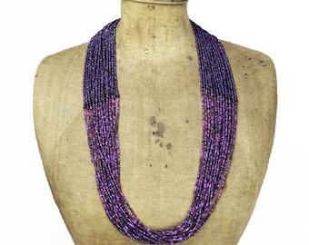Vintage Purple Bead Necklace, Purple Seed Bead Necklace,  Purple Beaded Multi Strand Necklace, Long Purple Necklace