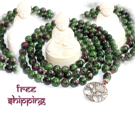 Japa Mala 108 Hand Knotted, Gemstone, Ruby Zoisite, 8mm, Prayer Yoga Necklace for Meditation and Mantra - Free Shipping