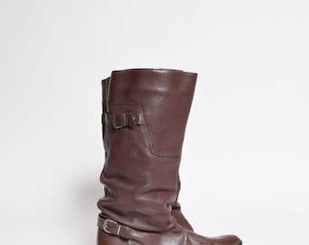 Vintage 80's Brown Leather Boots with Buckles