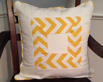 Chevron Pillow Cover 18 x 18 inch Yellow Chevron Pillow Cover Teen Girl Pillow Cover Yellow Pillow Cover Marigold Yellow Pillow Cover