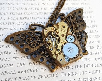 Steampunk Butterfly Necklace Pendant -Watch Part Necklaces- Vintage Butterflies Necklace Gifts for Steampunk Loving Friend
