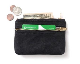 Waxed Canvas Wallet Coin Purse Double Zipper Pouch Black