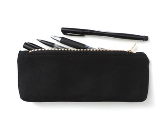 Canvas Pencil Case Zipper Pencil Pouch Black Back to School Supplies