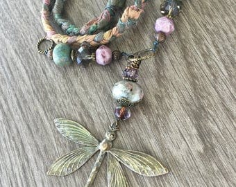 Mossy Dragonfly Necklace