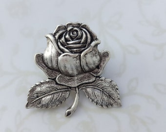 Rose Brooch Pin, Beauty and the Beast, 4 Finishes; Gold, Silver, Rose Gold, Copper, Woodland, Garden, Wedding, Summer