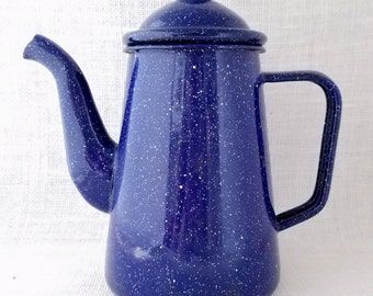 Vintage Blue Enamelware Kettle or Coffee Pot, Blue & White Enamel Coffee Pot with Lid, Spatter Pattren, Vintage Kitchenware