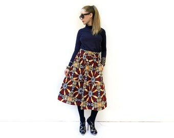 Tiered Skirt, African Fashion, African Print Clothing, Brown Skirt, Statement Skirt, Ankara Midi Skirt, African Clothing / XS S M M+ L