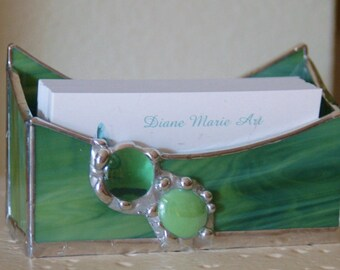 Business Card Holder Stained Glass with Glass Embellishments and Decorative finish Made to Order with Choice of Colors for Home or Office