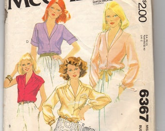 6367 McCalls Sewing Pattern Front Buttoned Blouse Choice Sleeves Shawl Collar Size 10 Vintage 1970s