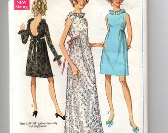 7949 Simplicity Sewing Pattern Lined Party Dress or Evening Gown Low Back Size 10 Vintage 1960s