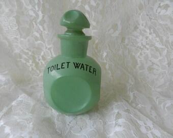 Art Deco Jar, Art Deco Toilet Water Jar, Green Toilet Water Jar, Vanity Jar, Vanity Accessories, Vintage Jars, Vintage Refillable Jar