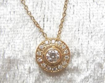 Petite Diamond Halo Pendant Necklace in 14K Yellow Gold