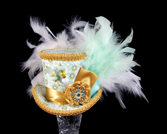 Mint and Gold Rosette Medallion Medium Mini Top Hat Fascinator, Alice in Wonderland, Mad Hatter Tea Party, Derby Hat