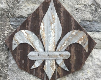 Fleur De Lis wall hanging- fleur de lis wall hanging made from reclaimed metal