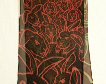 Bunnies vs. Bunny People - Quirky Hand Painted Silk Chiffon Scarf