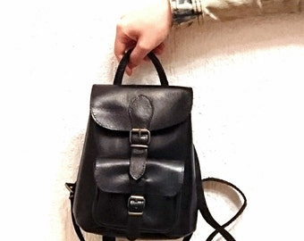 Black Leather Backpack Purse, Small Backpack, Leather Bag, Leather Rucksack, Women Backpack, Handmade Leather Pouch